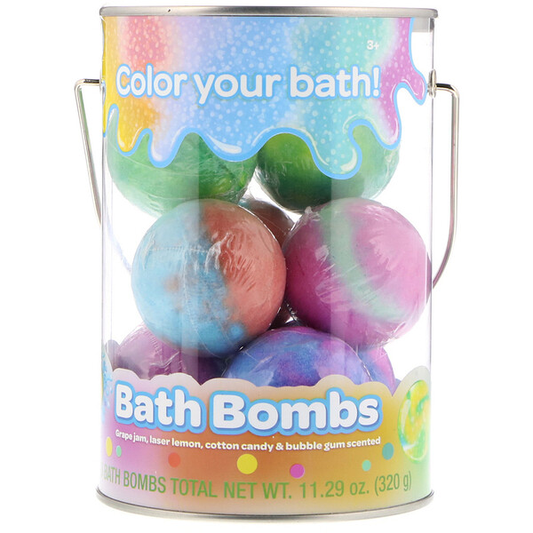 Crayola, Bath Bombs, Grape Jam, Laser Lemon, Cotton Candy & Bubble Gum Scented , 8 Bath Bombs, 11.29 oz (320 g)