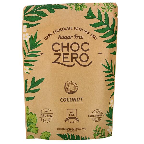 ChocZero, Dark Chocolate With Sea Salt, Coconut, Sugar Free, 6 Bars, 1 oz Each