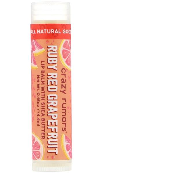 Crazy Rumors, Бальзам для губ с маслом ши, Рубиново-красный и грейпфрут, 0,15 унц. (4,4 мл) (Discontinued Item)