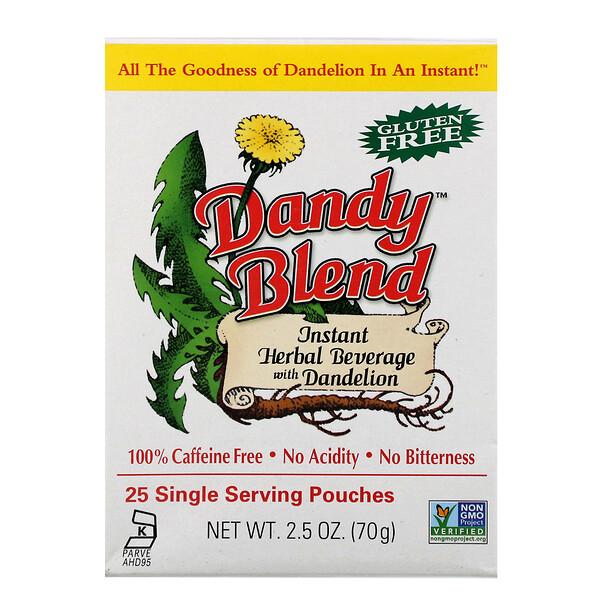 Dandy Blend, Instant Herbal Beverage With Dandelion (Быстрорастворимый травяной напиток с одуванчиком), без кофеина, 25 одноразовых пакетиков