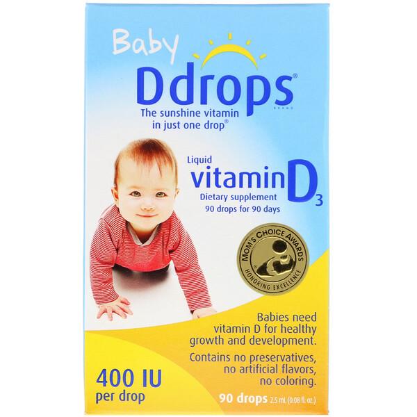 Ddrops, Для детей, жидкий витамин D3, 400МЕ, 90капель, 2,5мл (0,08жидкой унции)