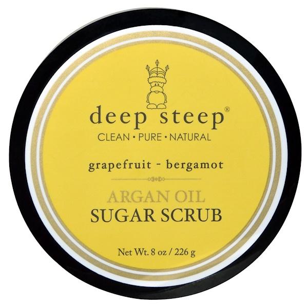 Deep Steep, Скраб для тела на основе арганового масла, с грейпфрутом и бергамотом, 8 унций (226 г) (Discontinued Item)