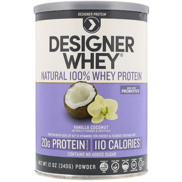 Designer Protein, Designer Whey, натуральный 100% сывороточный протеин, со вкусом ванили и кокоса, 12 унц. (340 г) (Discontinued Item)