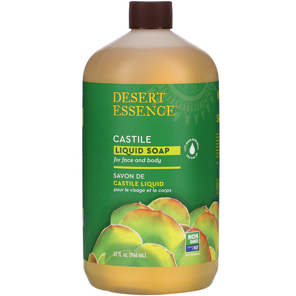 Desert Essence, Кастильское жидкое мыло с маслом чайного дерева Eco-Harvest, 960 мл (32 жидких унции)