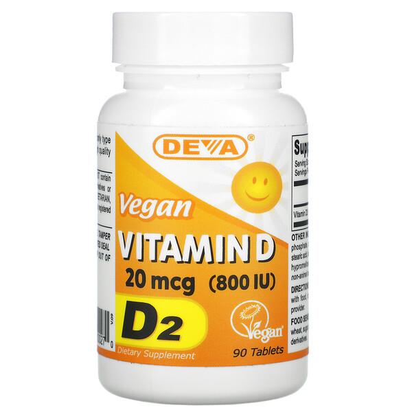 Vegan Vitamin D, D2, 20 mcg (800 IU), 90 Tablets