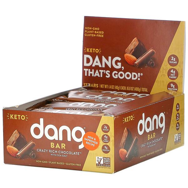 Keto Bar, Crazy Rich Chocolate with Sea Salt, 12 Bars, 1.4 oz (40 g) Each