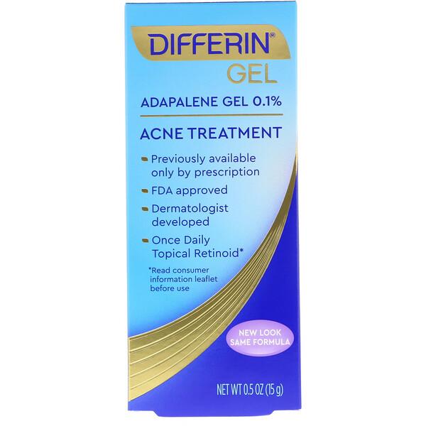 Differin, Адапаленовый гель 0.1%, уход за кожей с угревой сыпью, 0.5 унций (15 г)