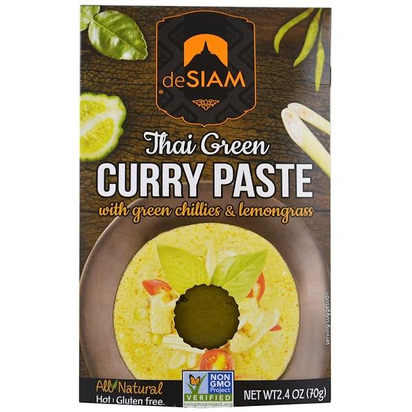 deSIAM, Тайский зеленый карри, паста, острая, 2,4 унции (70 г) (Discontinued Item)