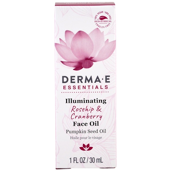 Derma E, Illuminating face Oil, Rosehip & Cranberry , 1 fl oz (30 ml) (Discontinued Item)