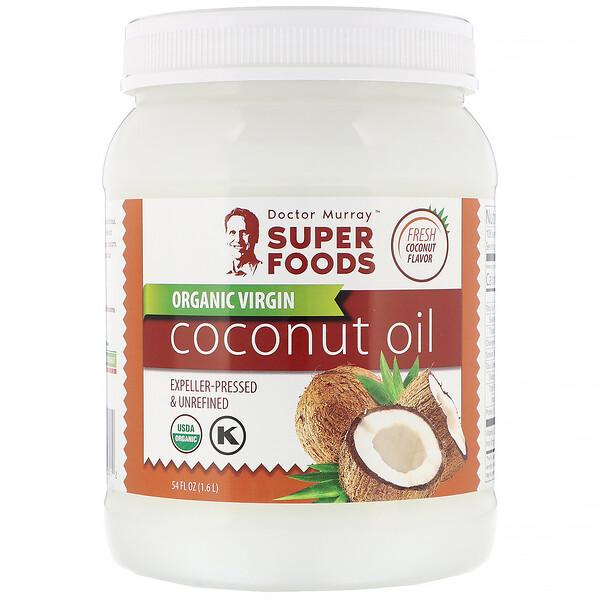 Dr. Murray's, Органическое кокосовое масло первого отжима, отжатое шнековым прессом, нерафинированное, 1,6л (54жидк.унции) (Discontinued Item)
