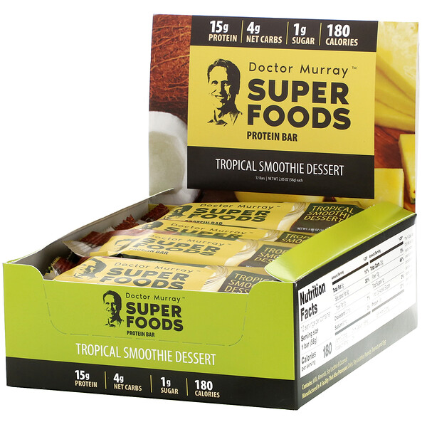 Superfoods Protein Bars, Tropical Smoothie Dessert,  12 Bars, 2.05 oz (58 g) Each