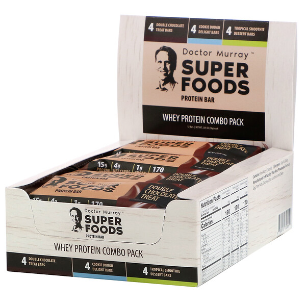 Superfoods Protein Bars, Whey Protein Combo Pack, 12 Bars, 2.05 oz (58 g) Each
