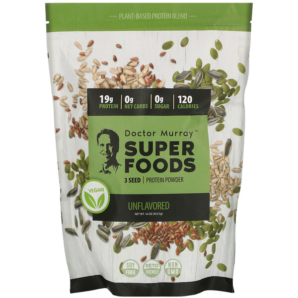 Super Foods, 3 Seed Vegan Protein Powder, Unflavored, 16 oz (453.5 g)