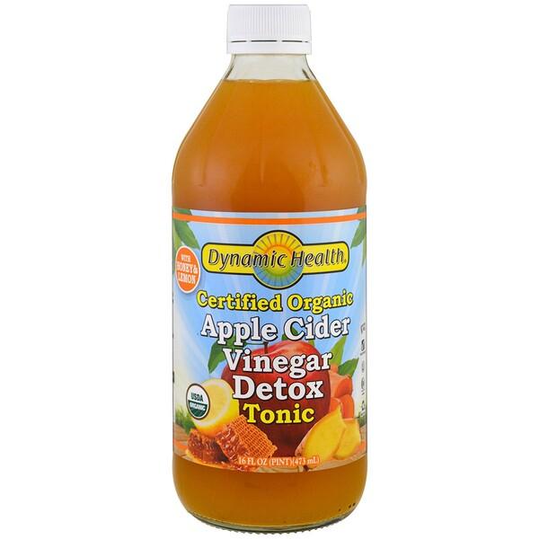 Тоник для выведения токсинов с органическим яблочным уксусом, 16 жидких унций (473 мл)