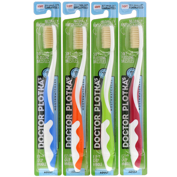 Dr. Plotka, Antimicrobial Toothbrush with Flossing Bristles, 4 Adult Toothbrushes (Discontinued Item)