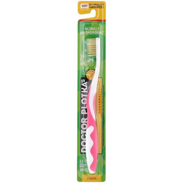 MouthWatchers, для молодежи, зубная щетка с натуральной противомикробной пропиткой, мягкая, розовая, 1 зубная щетка