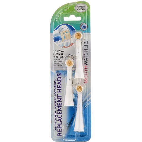 MouthWatchers, сменные головки для противомикробной вращающейся зубной щетки, упаковка из 3 штук