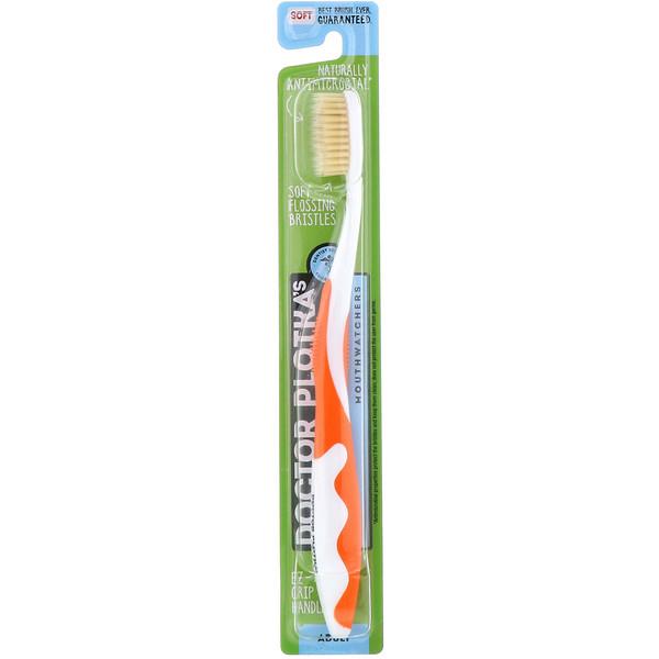 Dr. Plotka, MouthWatchers, для взрослых, естественно противомикробная зубная щетка, мягкая, оранжевая, 1 зубная щетка (Discontinued Item)