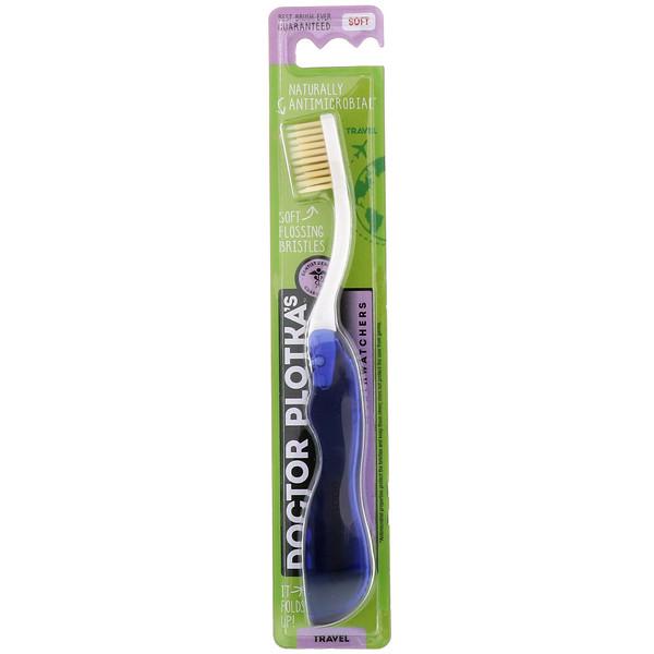 Dr. Plotka, MouthWatchers, зубная щетка с натуральной противомикробной защитой, мягкая, синяя, 1 зубная щетка (Discontinued Item)