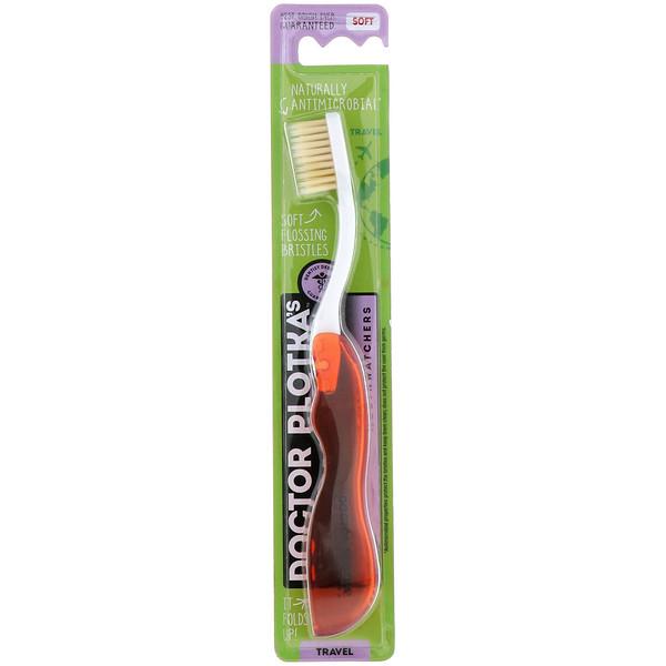Dr. Plotka, MouthWatchers, дородная зубная щетка с натуральной противомикробной защитой, мягкая, красная, 1 зубная щетка (Discontinued Item)