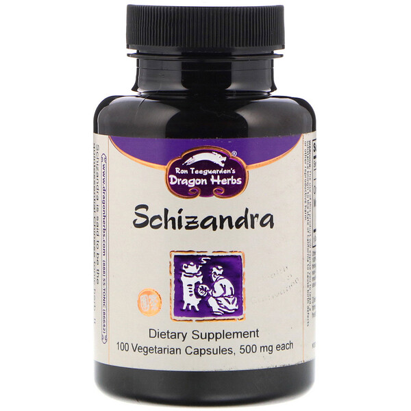 Dragon Herbs, Schizandra, 500 mg, 100 Vegetarian Capsules