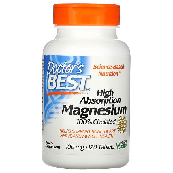 Doctor's Best, Магний с высокой степенью всасывания, 120таблеток