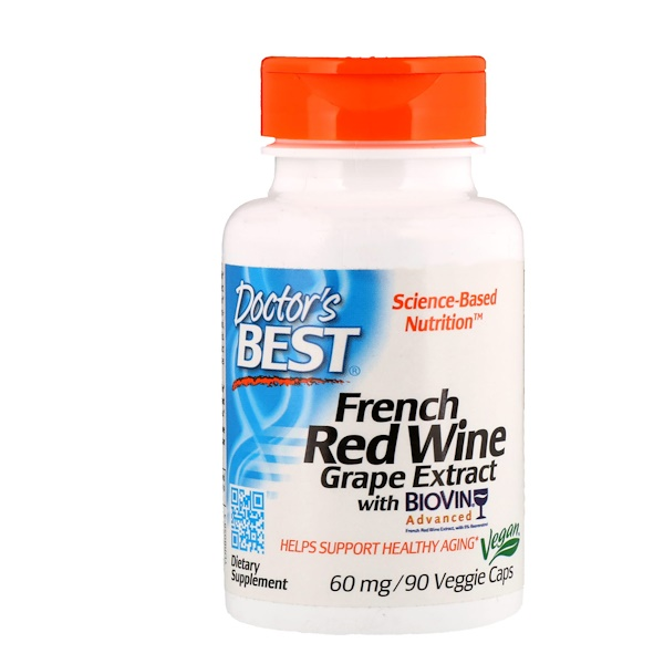 Doctor's Best, Экстракт французского красного винного сорта винограда, 60мг, 90вегетарианских капсул