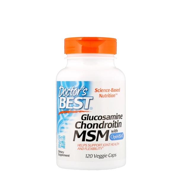 Doctor's Best, Глюкозамин, хондроитин и МСМ с OptiMSM, 120растительных капсул