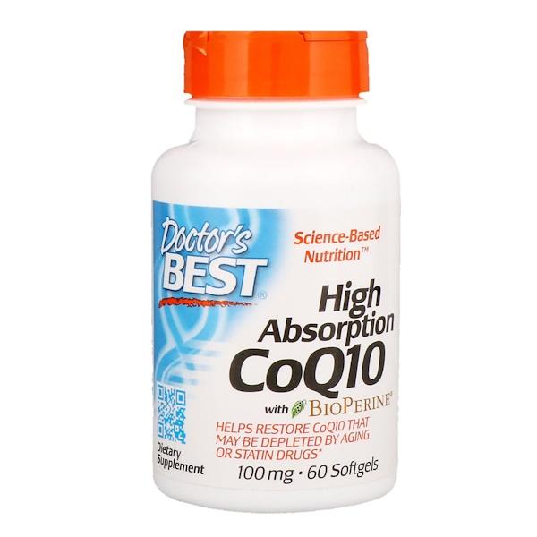 Doctor's Best, High Absorption CoQ10 with BioPerine, 100 мг, 60 мягких желатиновых капсул