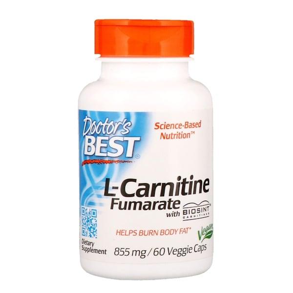 Doctor's Best, L-карнитин фумарат с карнитинами Biosint, 855мг, 60растительных капсул