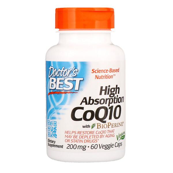 Коэнзим Q10 с высокой степенью всасывания, с BioPerine, 200 мг, 60 растительных капсул