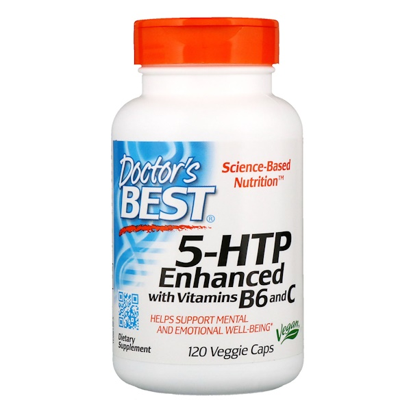 5-HTP, усиленный витаминами B6 и C, 120 растительных капсул
