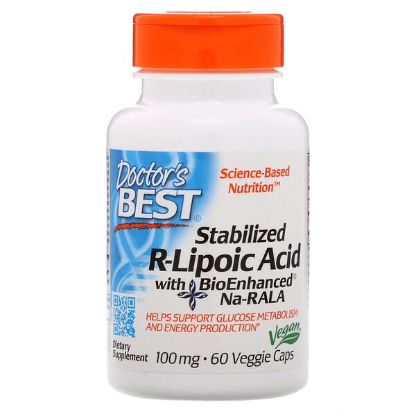 Стабилизированная R-липоевая кислота Best, 100мг, 60растительных капсул