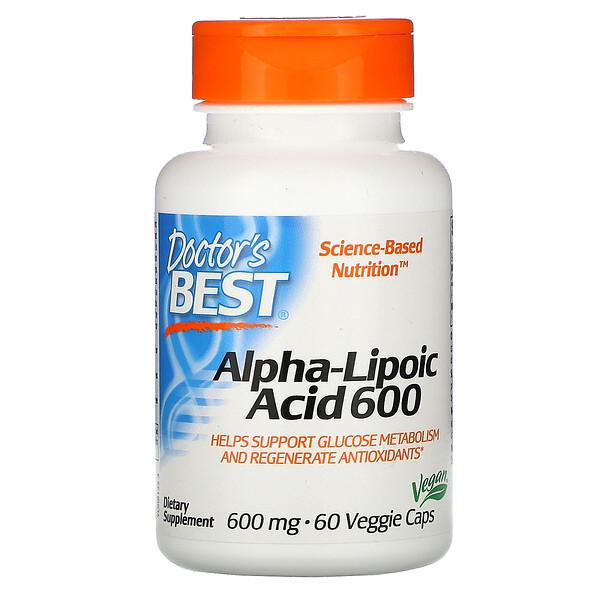 Doctor's Best, альфа-липоевая кислота, 600мг, 60растительных капсул