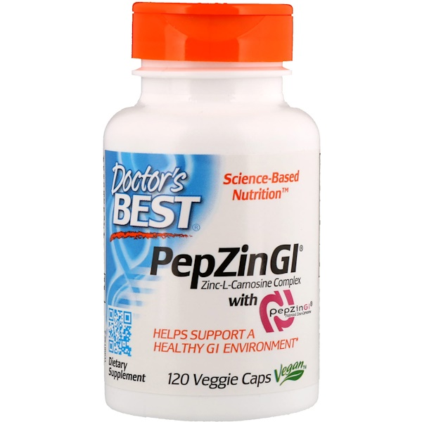 PepZin GI, комплекс цинк-L-карнозина, 120 растительных капсул