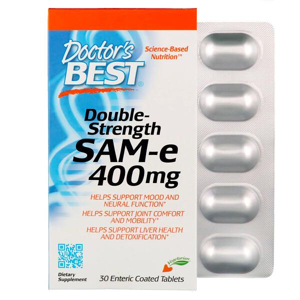SAM-e, 400 мг, двойная сила, 30 таблеток, покрытых кишечнорастворимой оболочкой