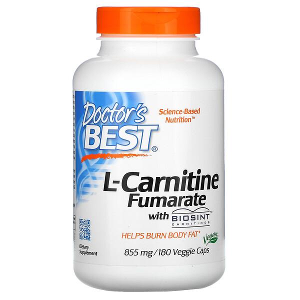 L-карнитин фумарат с карнитинами Biosint, 855 мг, 180 растительных капсул