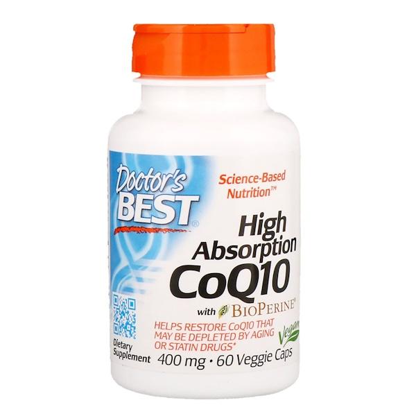 CoQ10 с высокой степенью всасывания с BioPerine, 400мг, 60растительных капсул