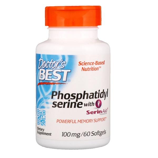 Doctor's Best, SerinAid, фосфатидилсерин, 100 мг, 60 мягких таблеток