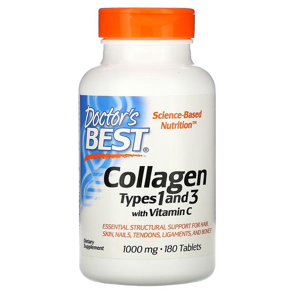 Doctor's Best, Коллаген типа 1 и 3 с витамином С, 1000мг, 180таблеток
