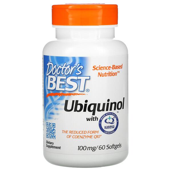 Doctor's Best, Убихинол, с QH Kaneka, 100мг, 60мягких таблеток