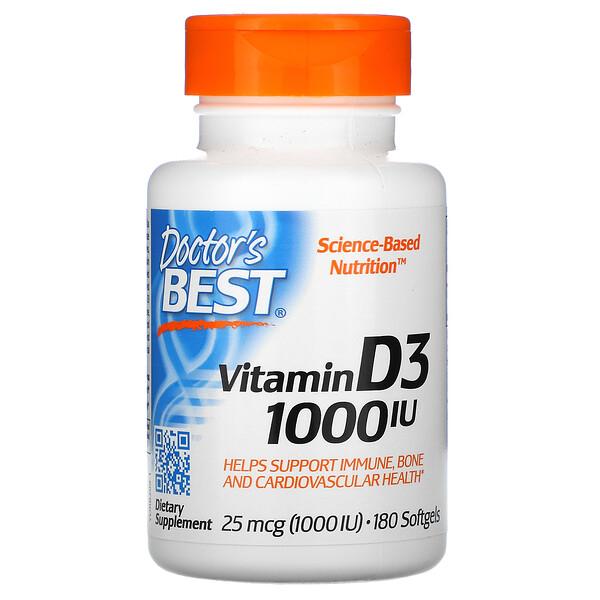 Doctor's Best, Витамин D3, 25 мкг (1000 МЕ), 180 мягких желатиновых капсул