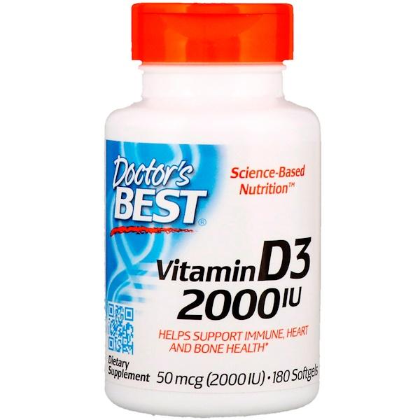 Doctor's Best, ВитаминD3, 2000МЕ, 180мягких таблеток
