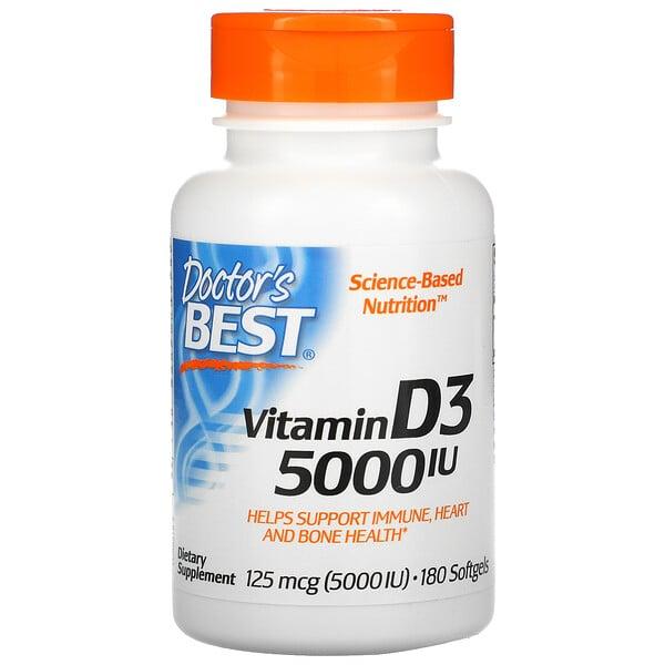 витаминD3, 125мкг (5000МЕ), 180мягких капсул