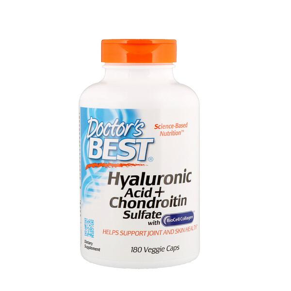 Doctor's Best, Гиалуроновая кислота и сульфат хондроитина, 180растительных капсул
