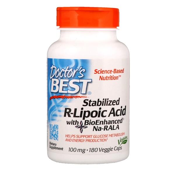 Стабилизированная R-липоевая кислота с биоулучшенной Na-RALA, 100 мг, 180 вегетарианских капсул