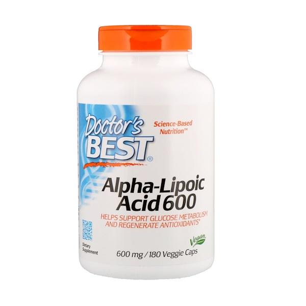 Альфа-липоевая кислота, 600 мг, 180 вегетарианских капсул