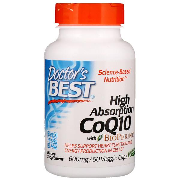 Коэнзим CoQ10 с высокой степенью всасывания, с BioPerine, 600 мг, 60 растительных капсул