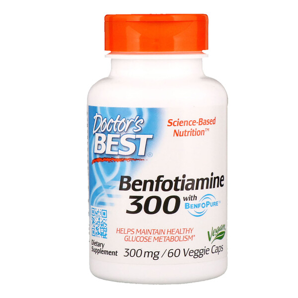 Бенфотиамин с BenfoPure, 300мг, 60растительных капсул