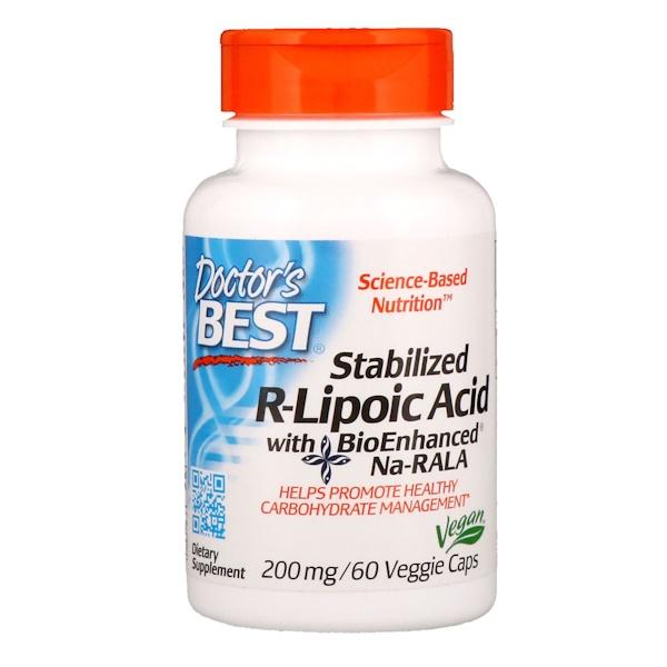 Стабилизированная R-липоевая кислота с биоусиленной Na-RALA, 200 мг, 60 вегетарианских капсул